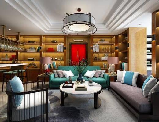 客厅, 多人沙发, 茶几, 单人沙发, 双人沙发, 边几, 台灯, 吊灯, 装饰柜, 书柜, 吧台, 吧椅, 单人椅, 摆件, 装饰品, 陈设品, 新中式