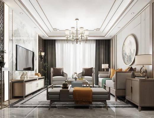 新中式客厅3d模型, 沙发组合, 客厅, 茶几, 摆件组合, 电视柜, 沙发凳, 吊灯