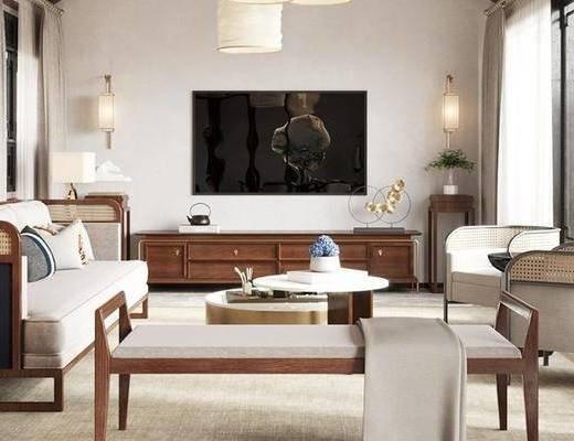 沙发组合, 电视柜, 电视, 茶几, 摆件组合, 壁灯