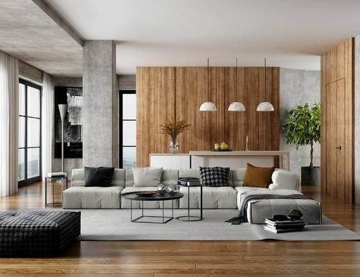沙发组合, 吊灯, 茶几, 植物