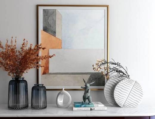 玻璃花瓶, 摆件, 盆栽, 装饰画
