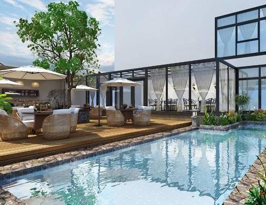 现代会所, 室外泳池, 阳光房, 休闲桌椅, 遮阳伞, 藤椅, 植物, 树, 盆景