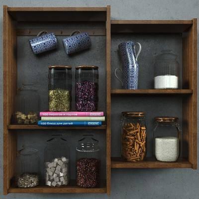 现代储物架食物组合, 现代, 食物, 杯子, 玻璃瓶
