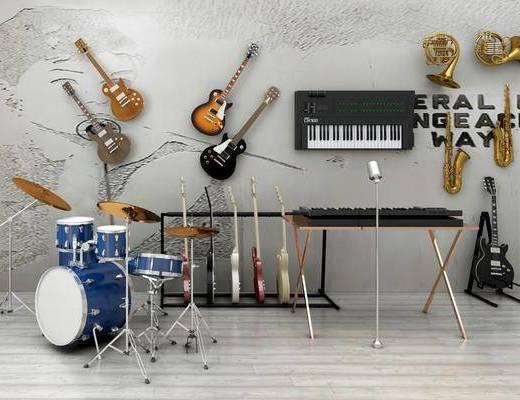 乐器组合, 吉它, 萨克斯, 电子琴, 架子鼓, 现代