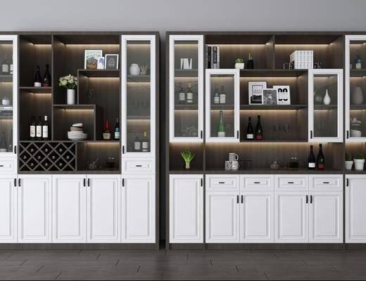 酒柜, 裝飾柜, 酒瓶, 擺件組合, 現代