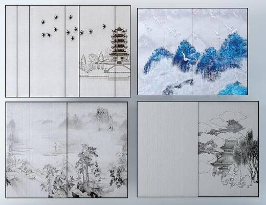 新中式水墨画硬包背景墙, 装饰画