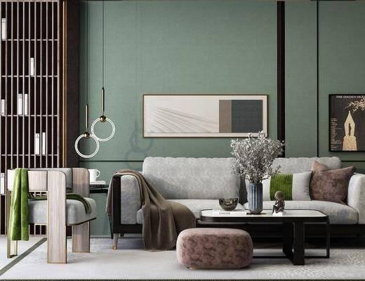 沙发组合, 茶几, 摆件组合, 吊灯, 单椅, 装饰画