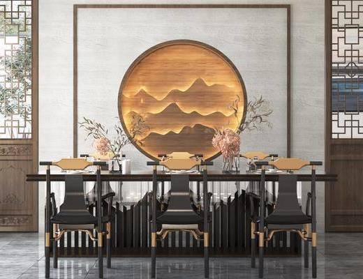 餐廳, 桌椅組合, 餐桌, 餐椅, 單人椅, 餐具, 花瓶花卉, 圓框畫, 裝飾畫, 掛畫, 新中式