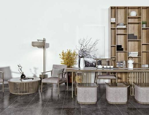 泡茶桌椅, 休闲椅, 边几, 茶具, 落地灯, 装饰柜