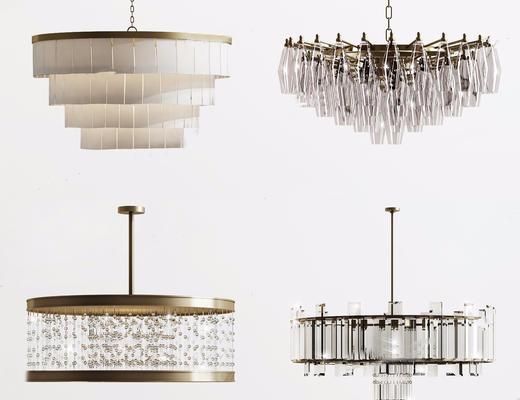 现代简约, 水晶吊灯, 灯具组合