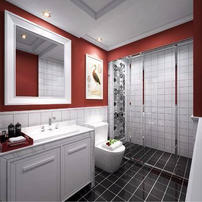 卫生间, 洗手台, 装饰画, 马桶, 装饰镜, 动物画, 现代