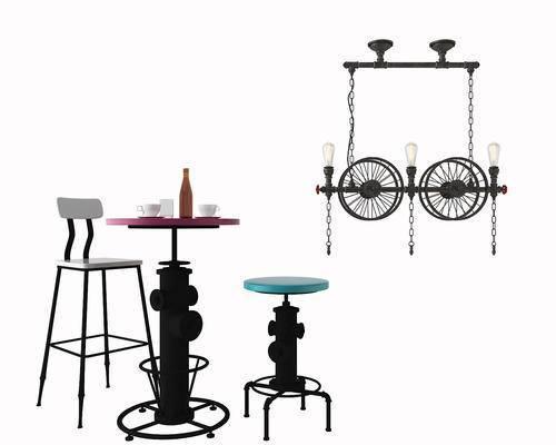 吧椅, 吧台, 吊灯, 工业风