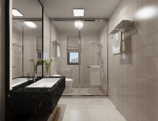 洗手池, 毛巾架, 马桶, 淋浴, 现代卫生间