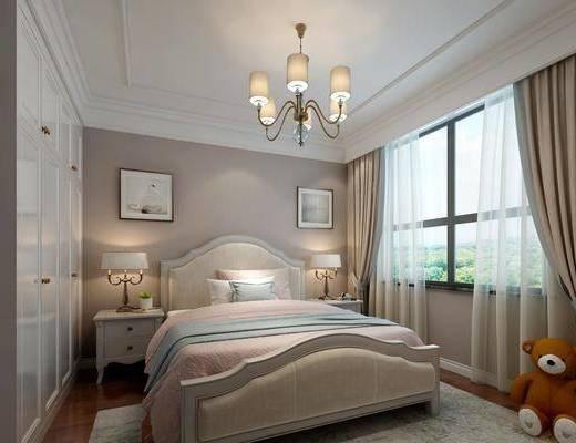 女儿房, 卧室, 双人床, 床头柜, 台灯, 吊灯, 装饰画, 挂画, 玩具, 衣柜, 美式