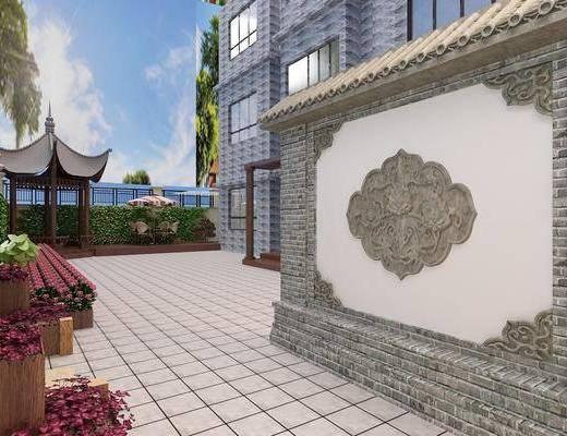 小院凉亭, 休闲桌椅组合, 植物墙组合, 门面门头, 花卉组合, 中式