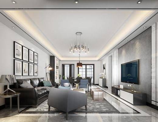 客厅, 现代港式客厅, 沙发组合, 茶几, 单椅, 吊灯, 电视柜, 摆件, 现代