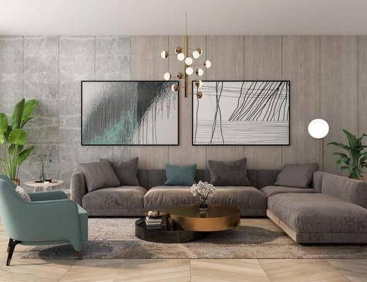 现代沙发, 沙发组合, 转角沙发