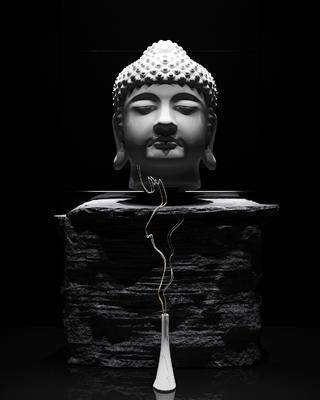 中式佛头, 中式, 佛, 花瓶