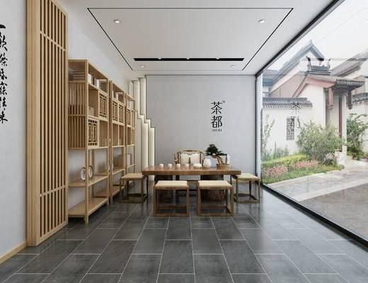 中式茶室, 原木色家具, 新中式, 新中式茶室全景, 新中式书架, 新中式桌椅组合