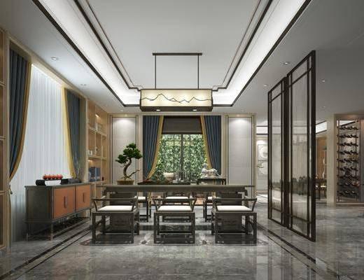 茶室, 茶桌, 单人椅, 盆栽, 绿植植物, 边柜, 吊灯, 茶具, 酒瓶, 摆件, 装饰品, 陈设品, 新中式