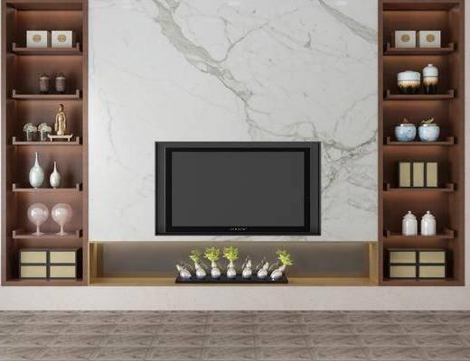 电视柜, 置物架, 电视背景墙