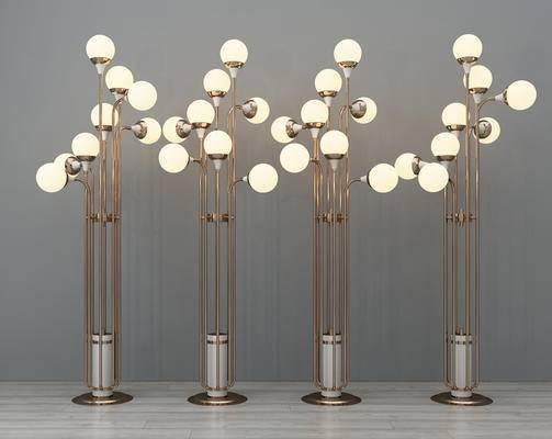 落地灯, 多头落地灯, 金属落地灯, 灯泡落地灯, 现代落地灯