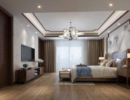 卧室, 新中式卧室, 床具组合, 摆件, 吊灯, 床头柜, 电视柜, 床尾踏, 新中式