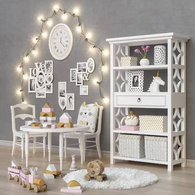 北欧儿童房, 置物架, 摆件, 彩灯, 儿童桌椅