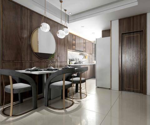 现代厨房餐厅, 餐桌, 单椅, 摆件, 厨具, 厨柜, 现代