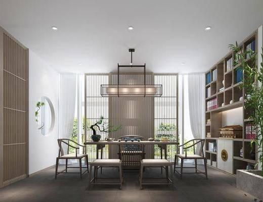 茶馆, 茶桌, 单人椅, 装饰柜, 书柜, 盆栽, 吊灯, 书籍, 装饰品, 陈设品, 新中式