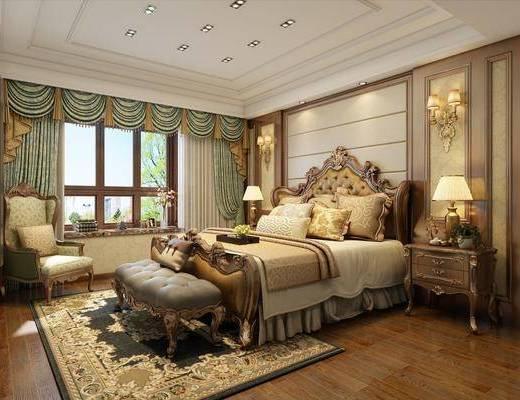 美式卧室, 美式, 卧室, 欧式床, 沙发椅, 床头柜, 脚踏, 雕花床