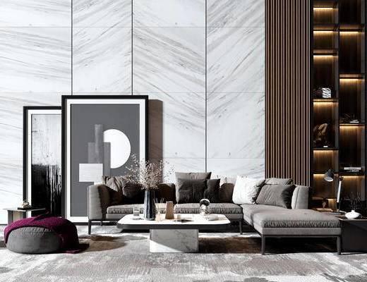 沙发组合, 茶几组合, 抱枕, 装饰画
