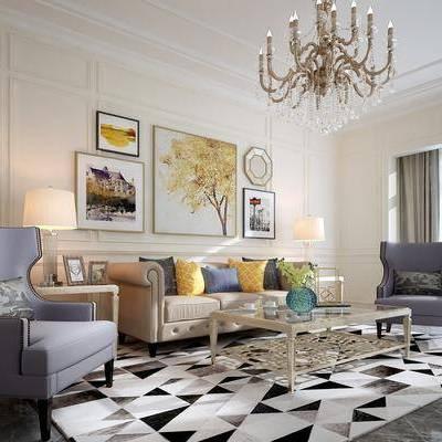 多人沙发, 单人沙发, 茶几, 摆件, 装饰画, 台灯, 吊灯, 美式