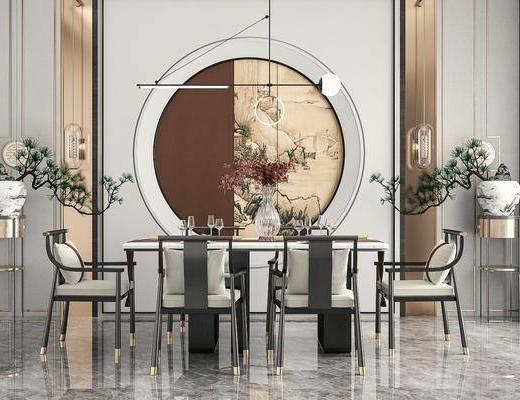 餐桌椅, 墙饰, 吊灯, 盆景, 背景墙