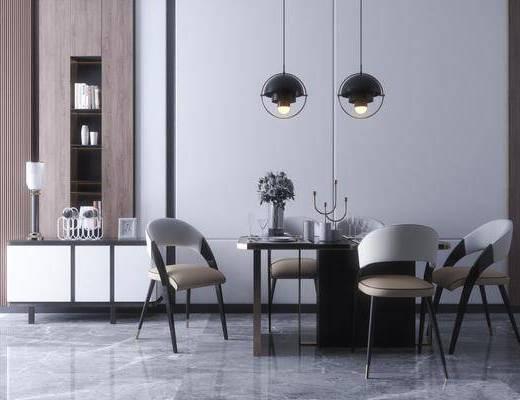 现代, 餐桌椅, 吊灯, 边柜