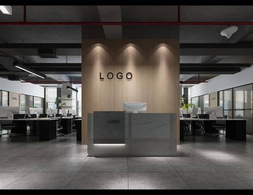 办公楼, 电脑桌, 前台, 现代