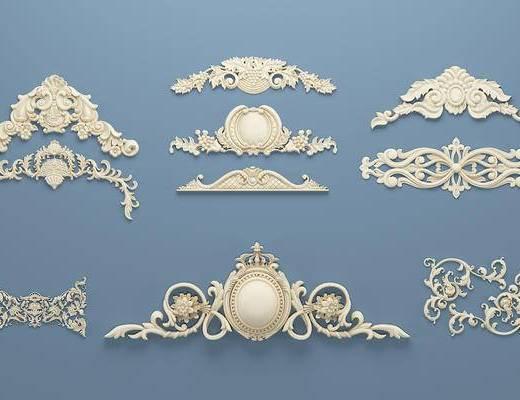 欧式石膏雕刻, 雕花, 单花, 对角花, 构件