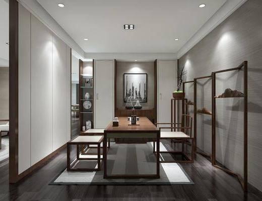 茶室, 新中式, 中式, 桌椅组合, 茶具