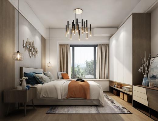 现代, 卧室, 灯具, 双人床, 墙饰