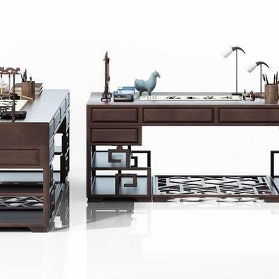 中式, 书桌, 毛笔, 毛笔架, 摆件, 端砚, 砚墨, 笔筒