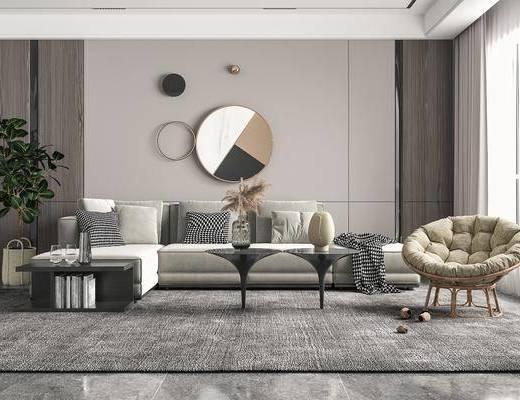 多人沙发, 墙饰, 休闲椅, 绿植, 摆件