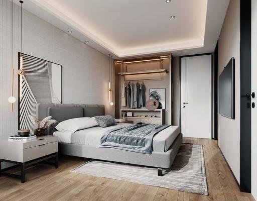 单人床, 床头柜, 吊灯, 衣柜, 装饰画
