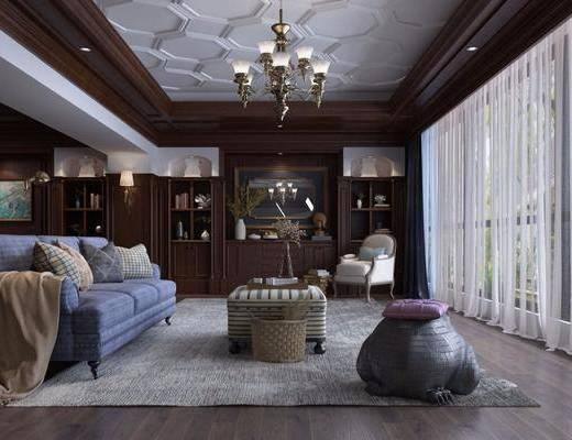 客厅, 多人沙发, 茶几, 单人沙发, 吊灯, 书柜, 装饰柜, 花瓶花卉, 落地灯, 书籍, 壁灯, 装饰画, 挂画, 装饰镜, 摆件组合, 花瓶, 绿植植物, 美式