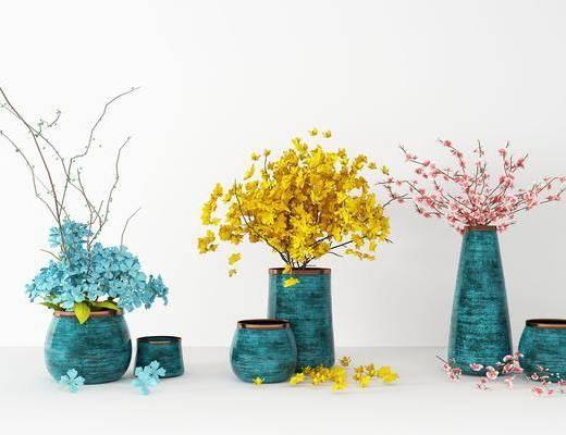 花瓶花卉, 花盆, 插画组合, 现代