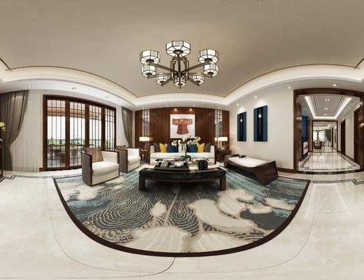 新中式客餐厅, 客厅, 餐厅, 沙发组合, 沙发茶几组合, 餐桌椅组合, 边柜组合, 家装全景