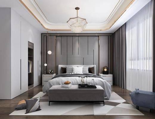 卧室, 床具组合, 衣柜组合, 服饰组合, 摆件组合, 现代