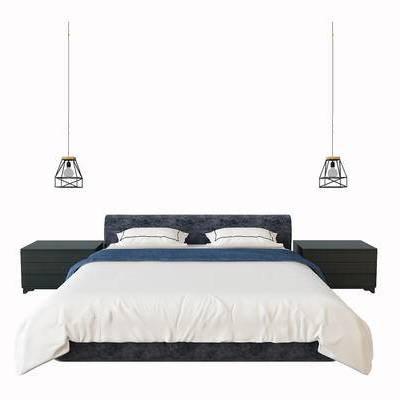 床具, 双人床, 床头柜, 吊灯, 现代