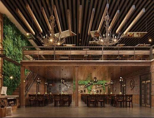工业风餐厅, 餐厅, 餐桌椅, 桌椅组合