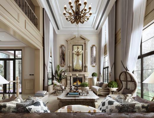 欧式客厅, 别墅, 客厅, 餐厅, 吊灯, 美式