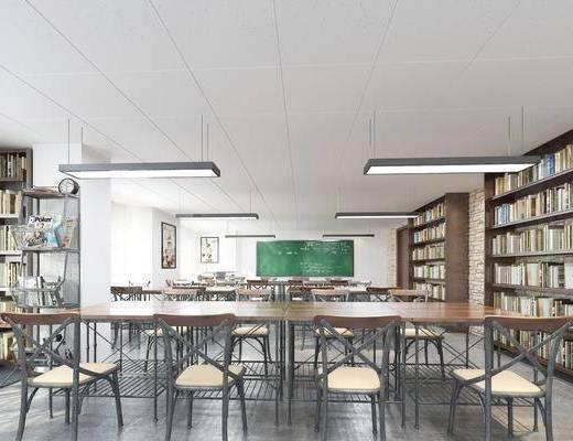 图书馆, 美式图书馆, 书籍, 书架, 书柜, 书桌, 单椅, 美式